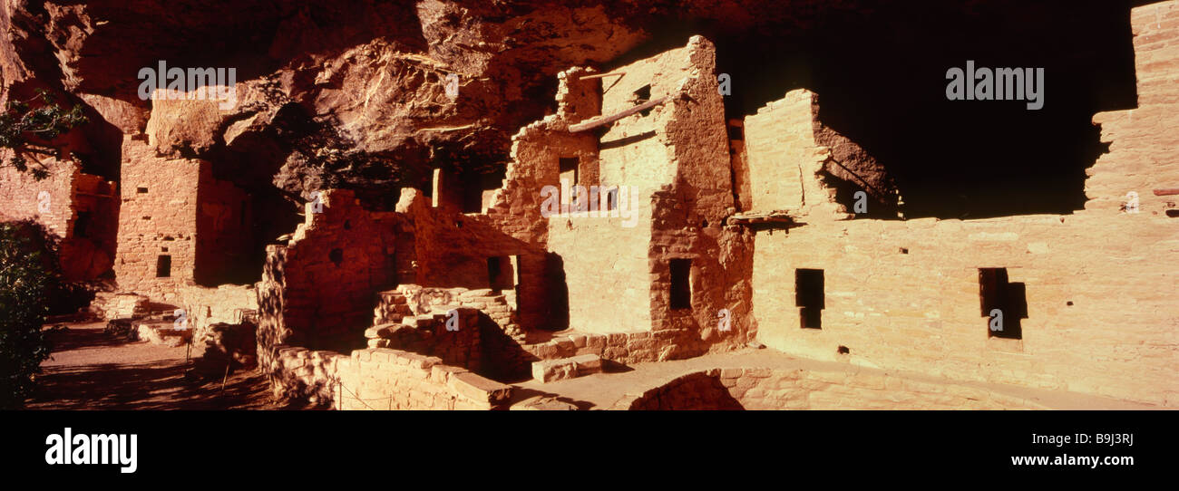 Cliff palace largest of Anasazi dwellings in Mesa Verde Colorado - Stock Image