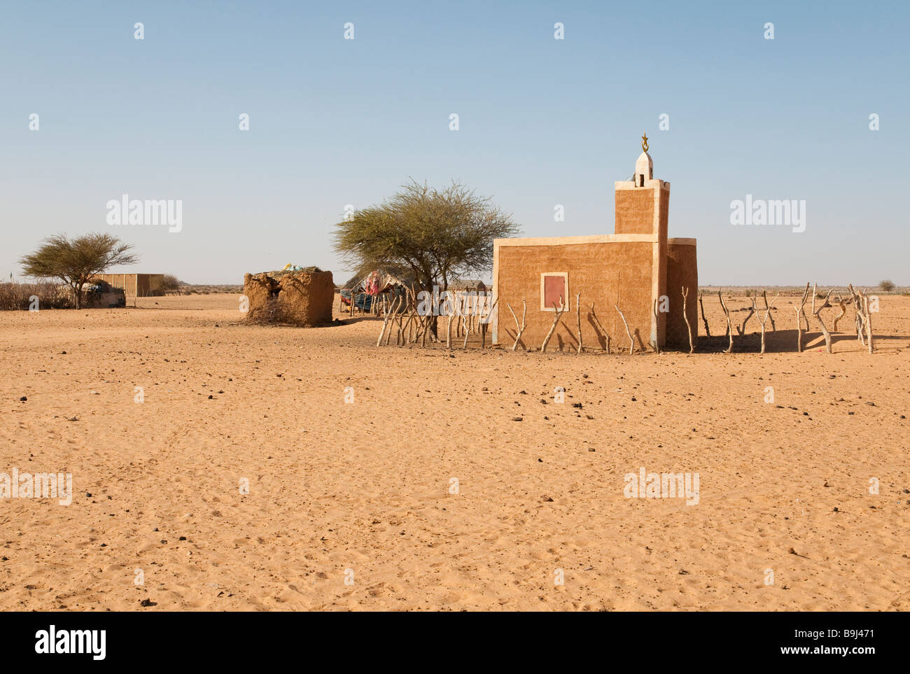West Africa Mauritania Road of Hope small mosque in remote town - Stock Image