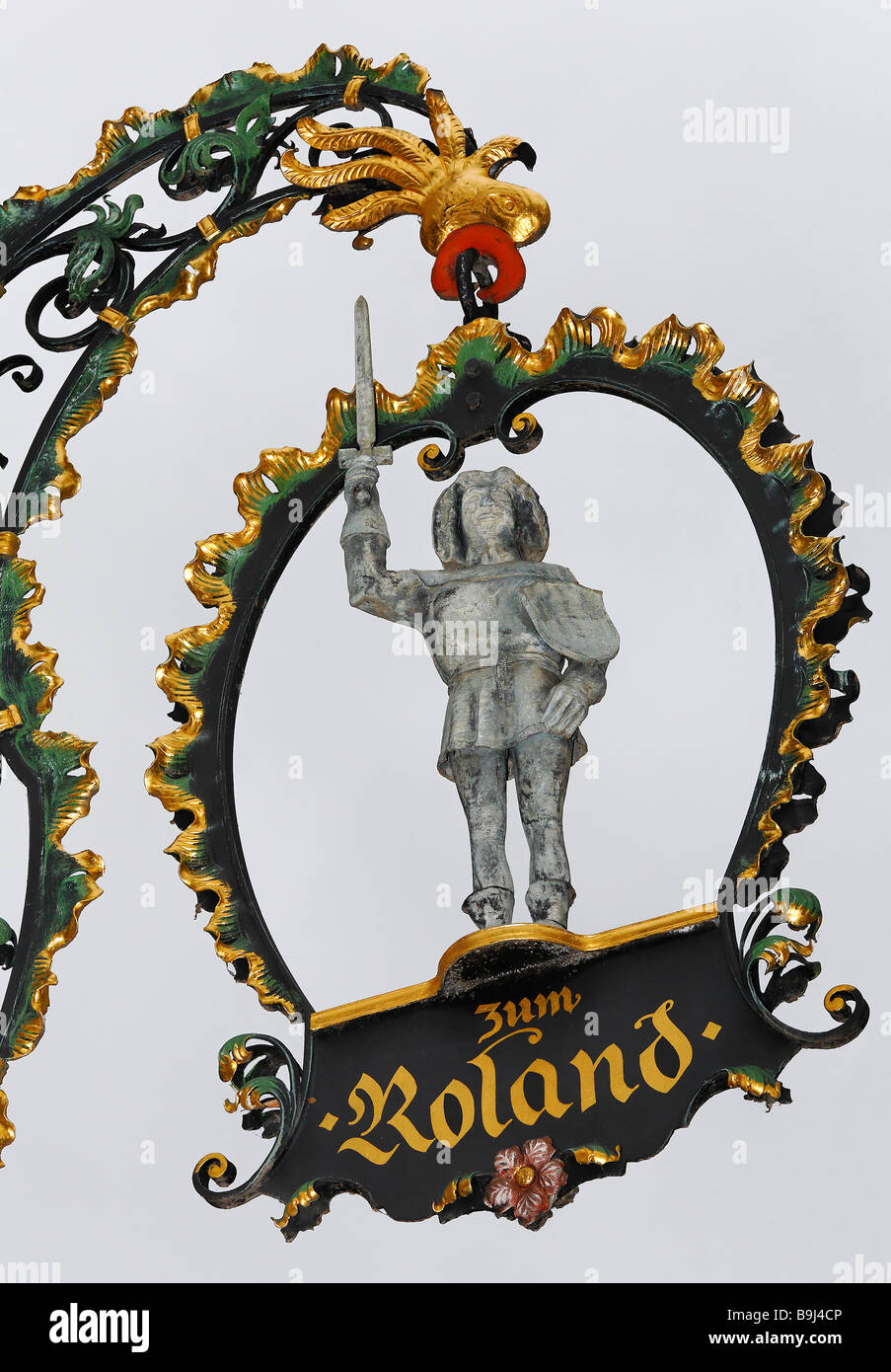 Beautiful old pub sign with a figure of Roland, wrought steel, Quedlinburg, Harz, Saxony-Anhalt, Germany, Europe - Stock Image