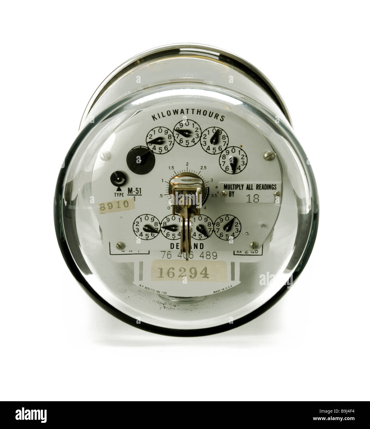 An electrical power meter seen from it's front face / end - Stock Image