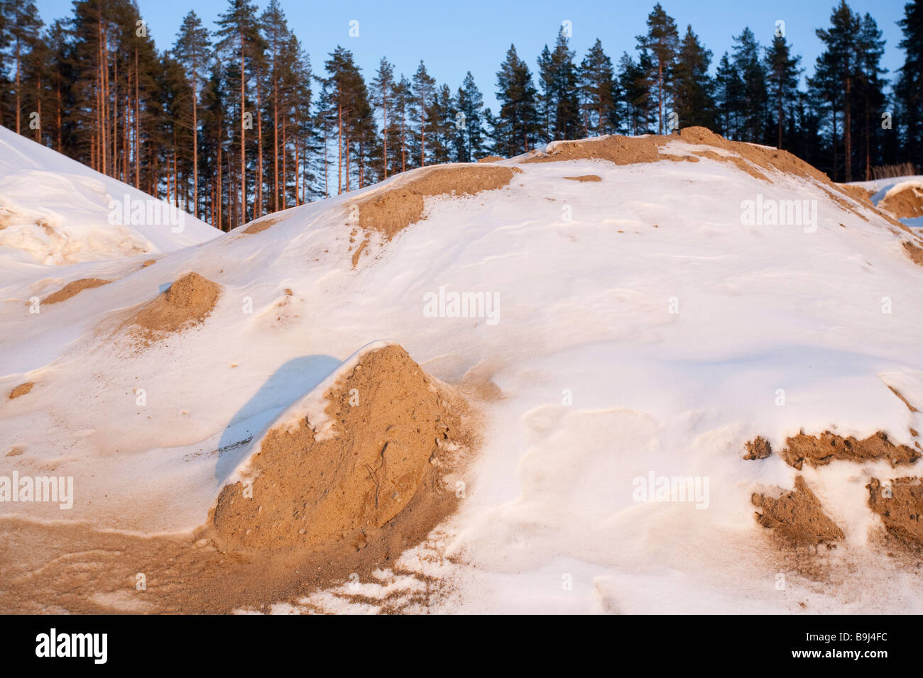 Sand extracted from a gravel pit which is situated on glacial esker , Finland - Stock Image