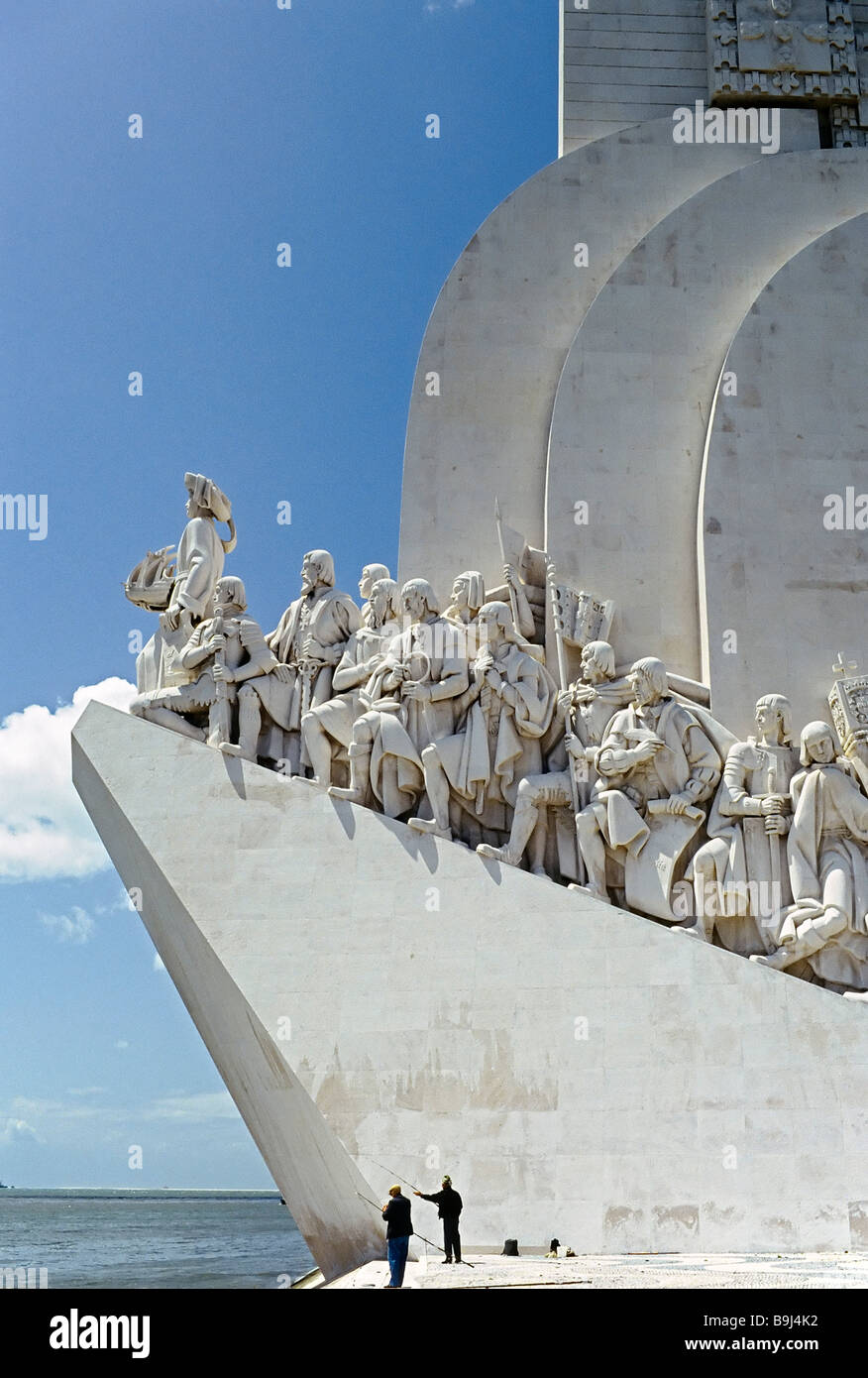 Modern memorial to Portugese discoveries, at front Henry the Navigator, Lisbon, Portugal, Europe - Stock Image