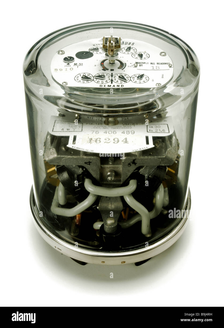 An electrical power meter seen from the side - Stock Image