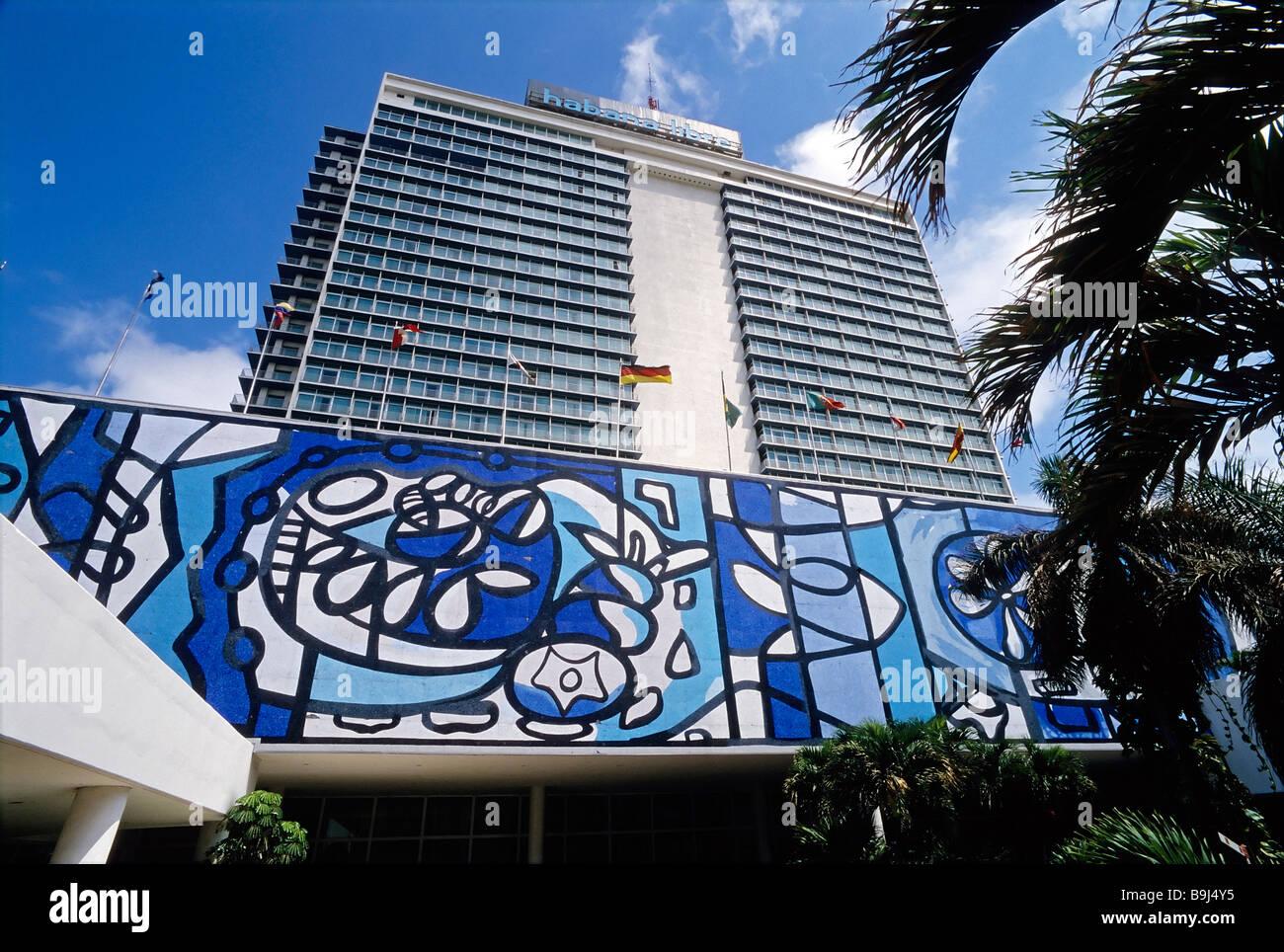 Habana Libre Hotel, tile painting by Amelia Pelaez, Vedado, Havana, Cuba, Caribbean - Stock Image