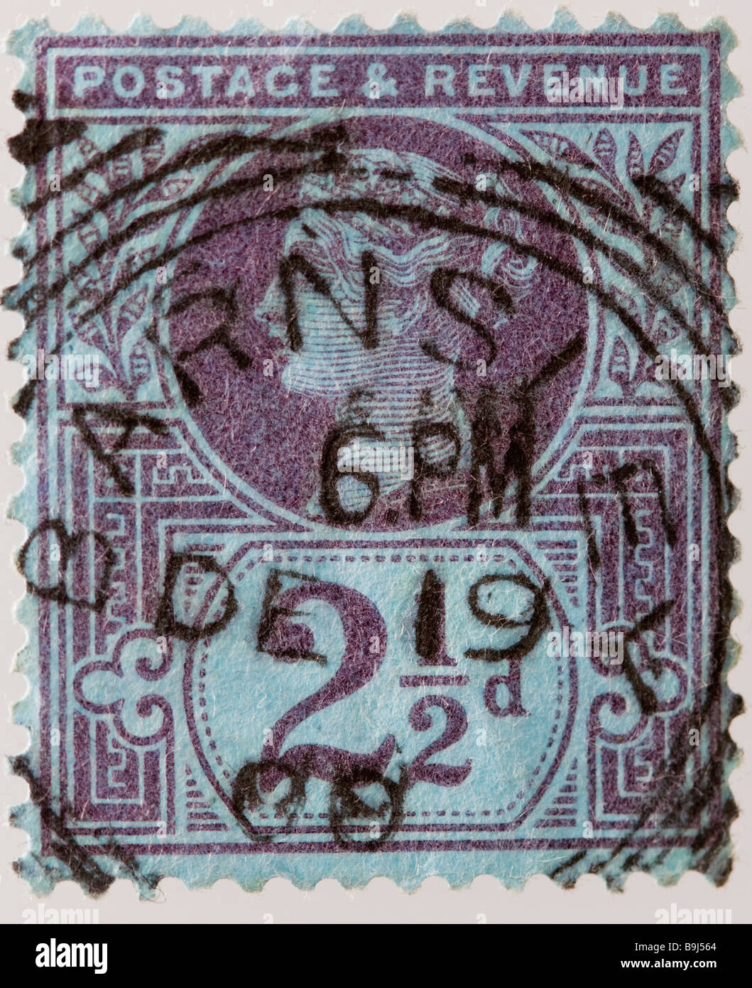 English Victorian two and half pence Jubilee postage stamp 1887-1900 SG 201, mauve, used - Stock Image