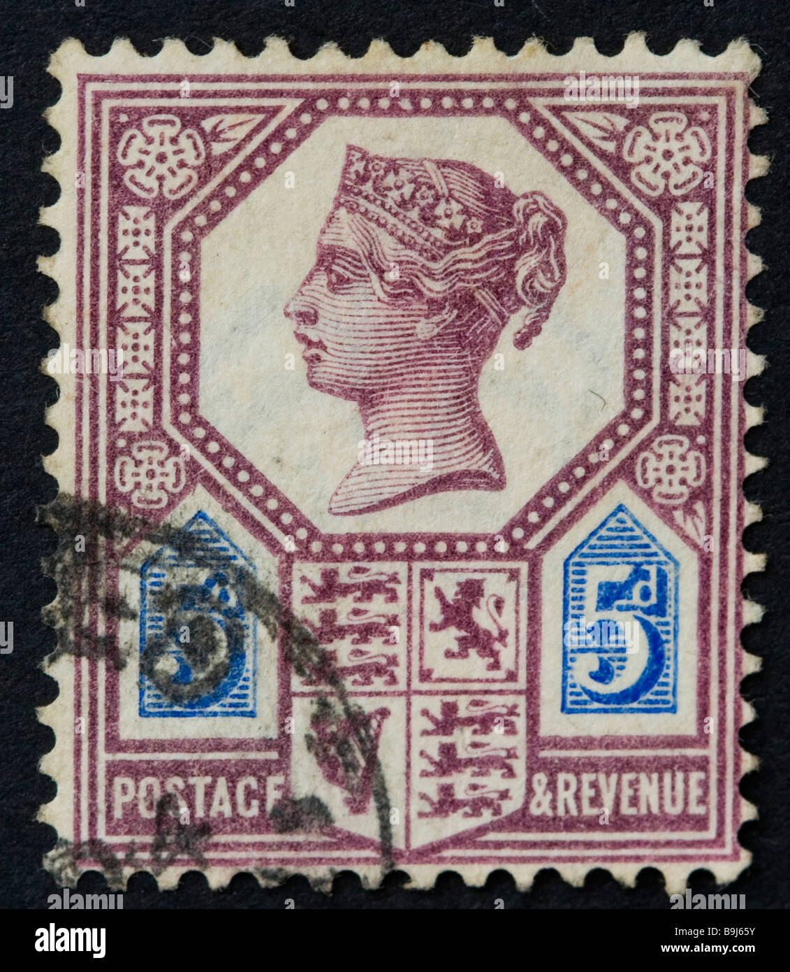 British Victorian 5d postage stamp 1887-1900 SG 207 purple and blue, franked, used - Stock Image