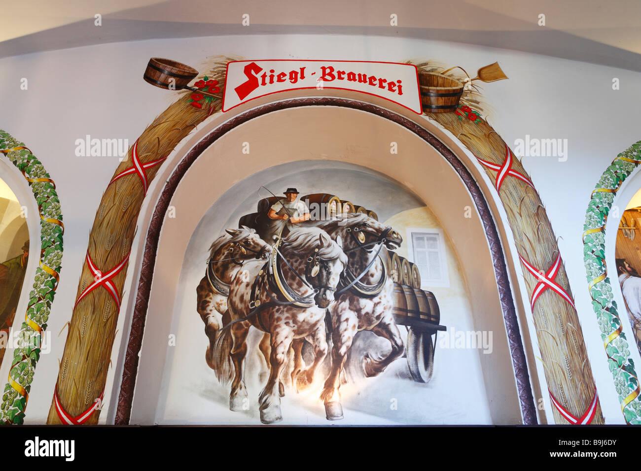 Mural in the Stiegl brewery, Salzburg, Austria, Europe - Stock Image