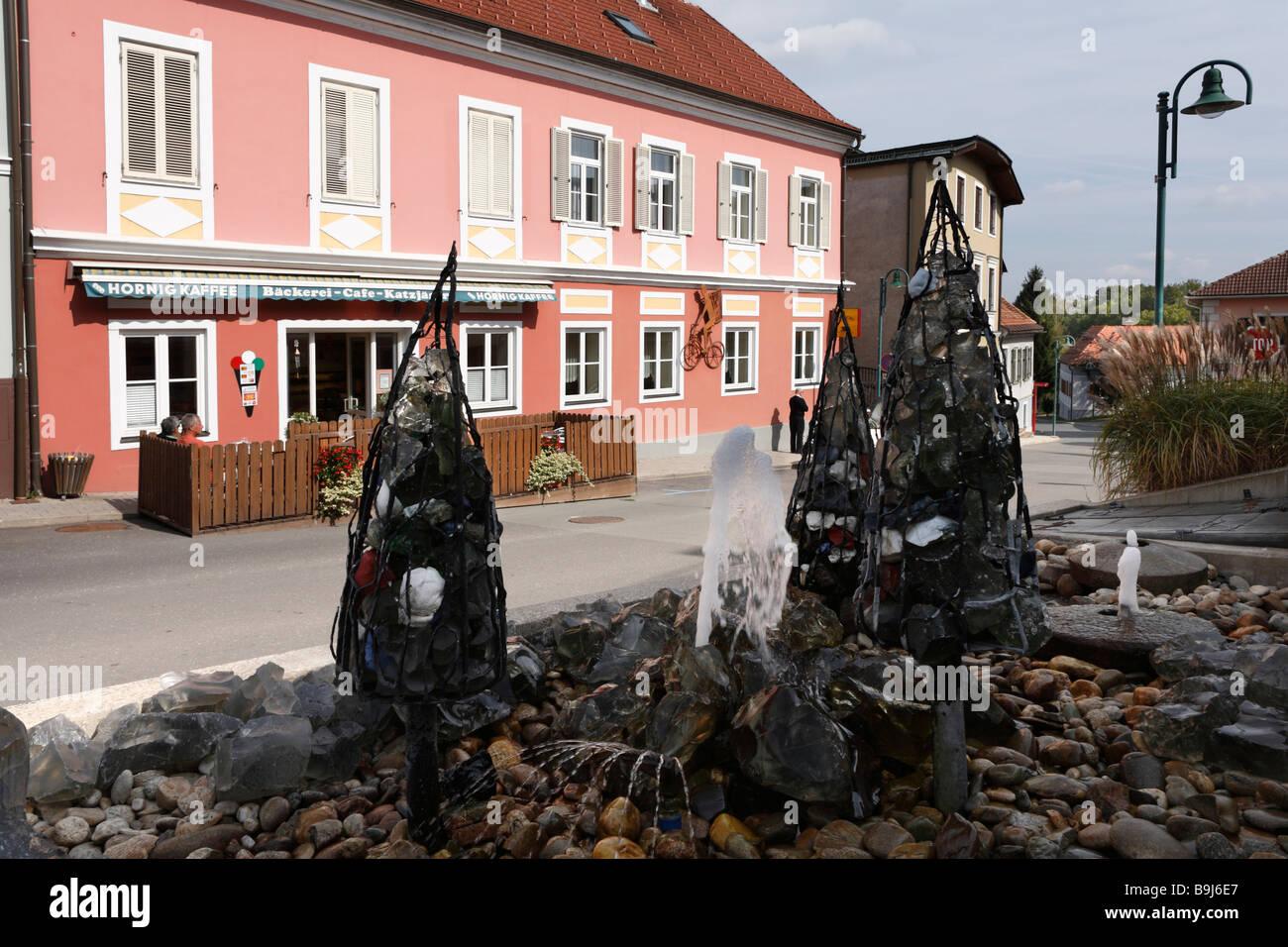 Industrial fountain by Peter Brauchart, Eibiswald, Styria, Austria, Europe - Stock Image