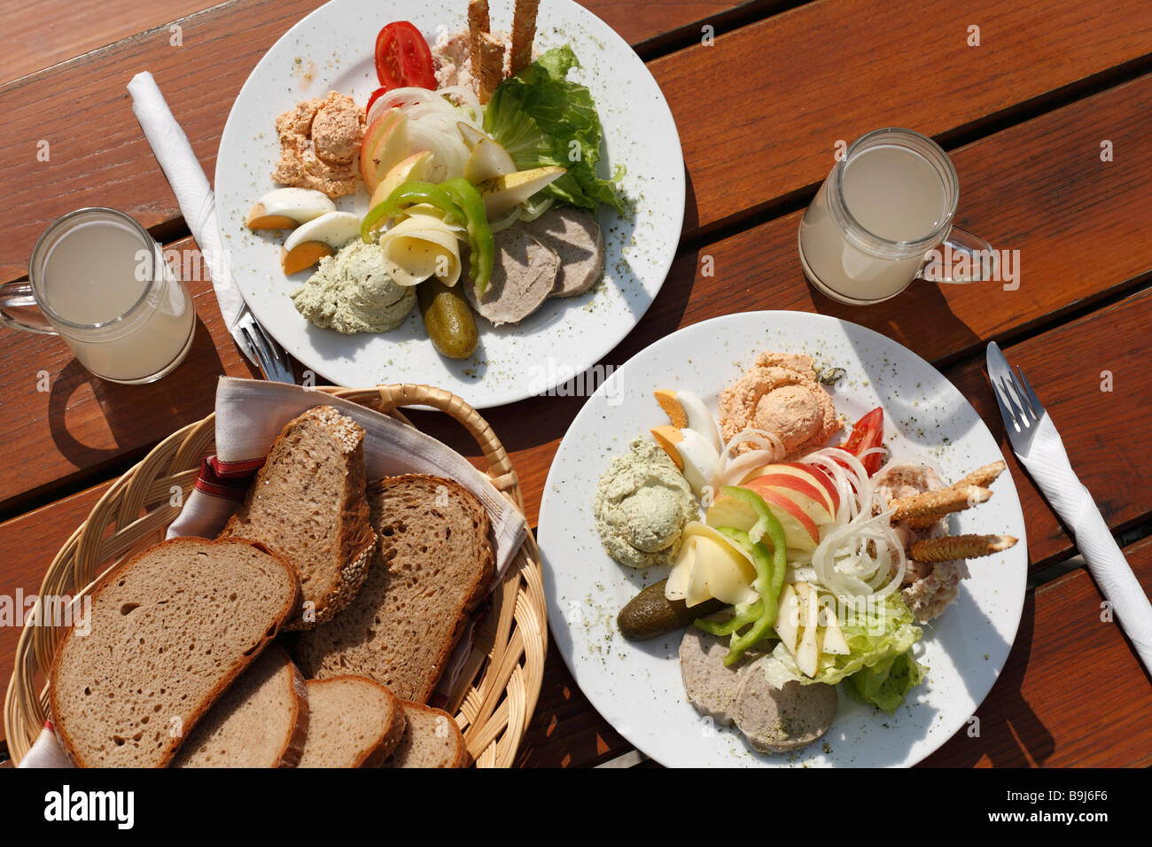 Dish with spreads in Buschenschank, bar, with 'Sturm', Federweisser, Styria, Austria, Europe - Stock Image