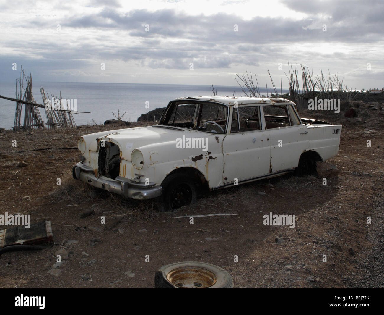 Scrapped Mercedes near Playa Santiago, La Gomera, Canary Islands, Spain, Europe Stock Photo