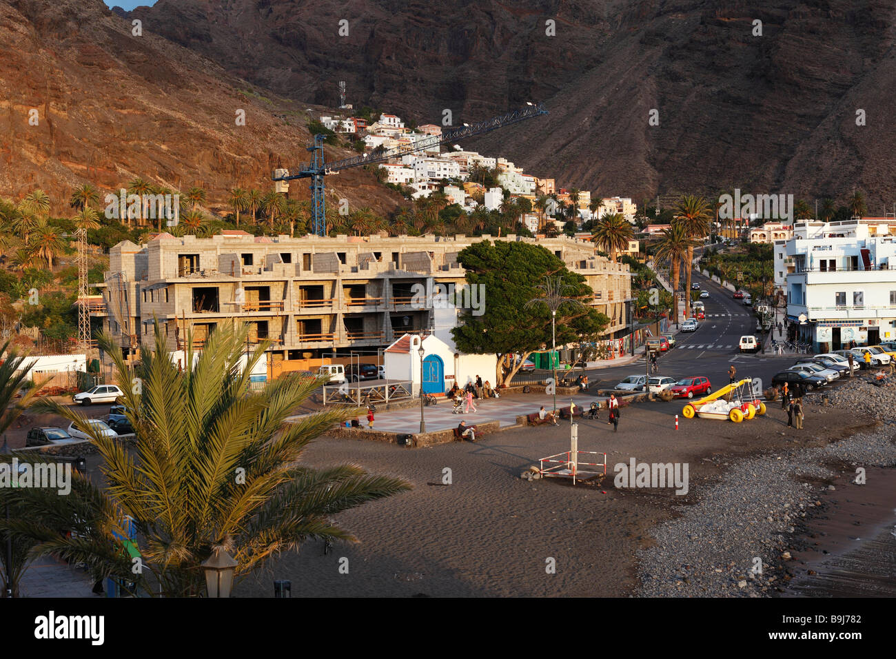 Building site at a hotel in La Playa, in the back La Calera, Valle Gran Rey, Canary Islands, Spain, Europe - Stock Image