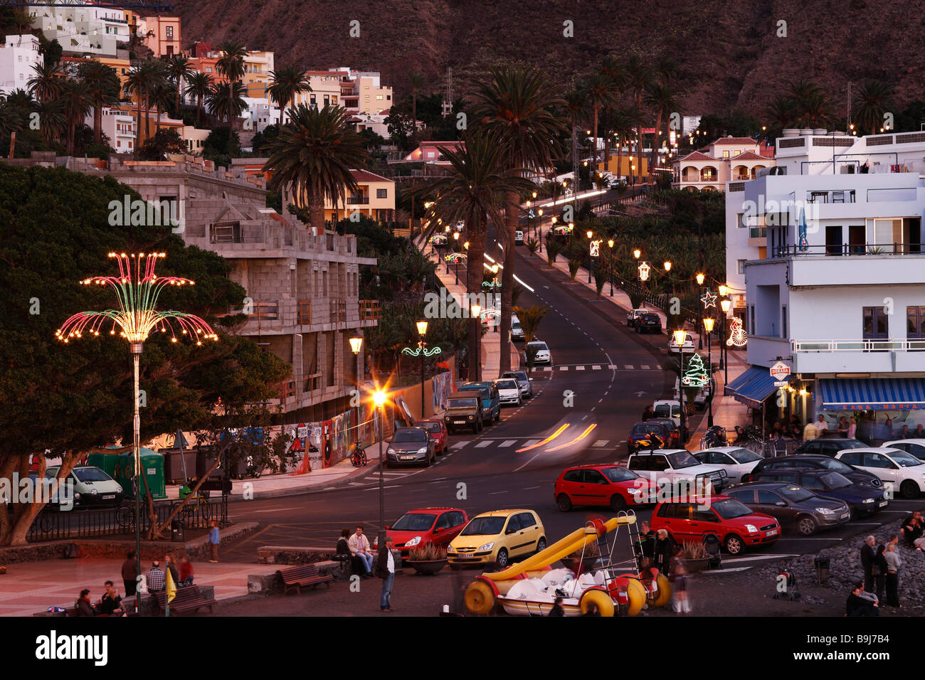 Streets with Christmas decoration at nighttime in La Playa, Valle Gran Rey, La Gomera, Canaries, Canary Islands, - Stock Image