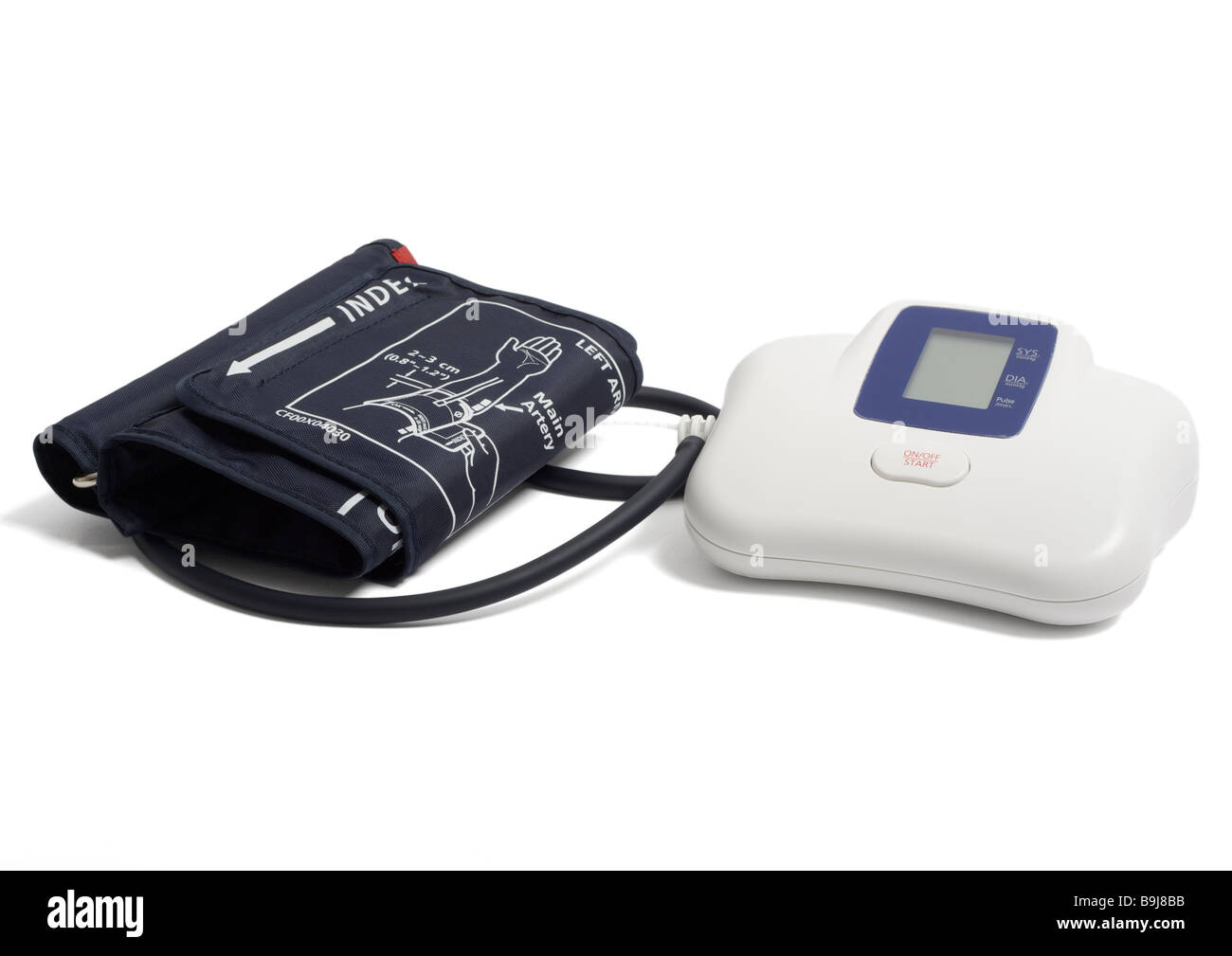 Blood pressure monitor on white background - Stock Image