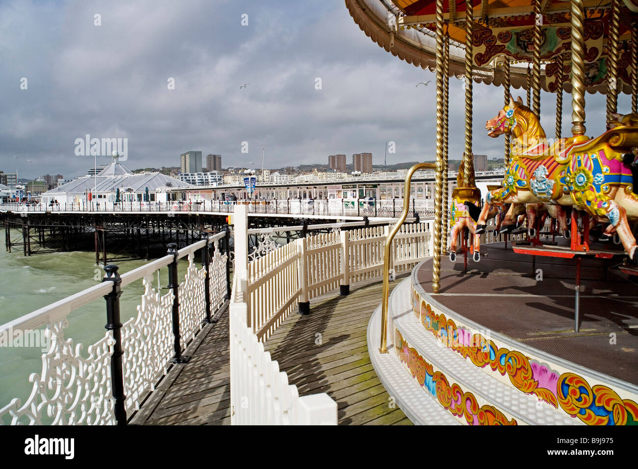 Carrousel, merry-go-round on the pier in Brighton, Sussex, Great Britain, Europe Stock Photo