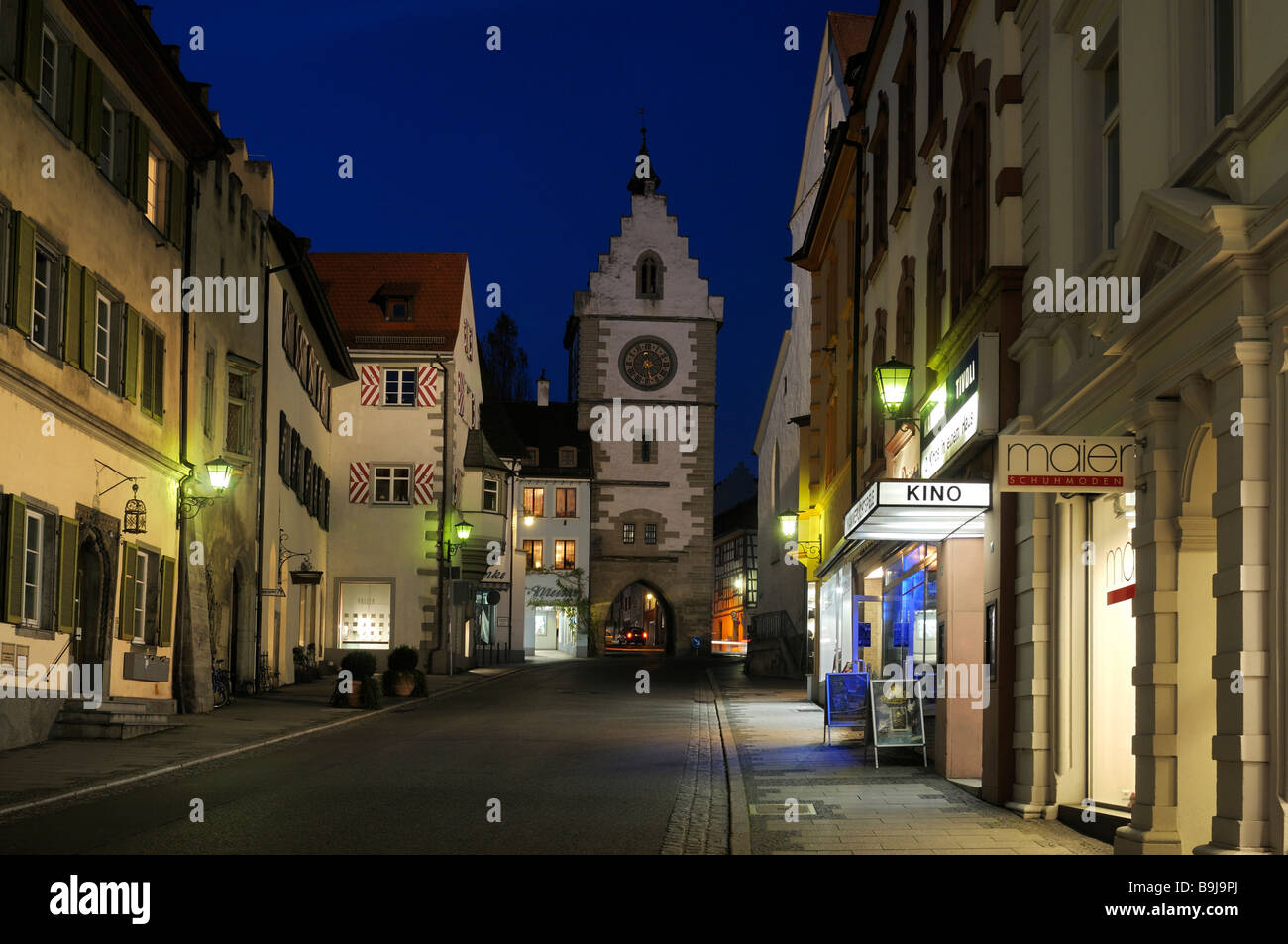 Historic city centre of Ueberlingen at night with the upper city gate, Bodenseekreis, Lake Constance district, Baden - Stock Image
