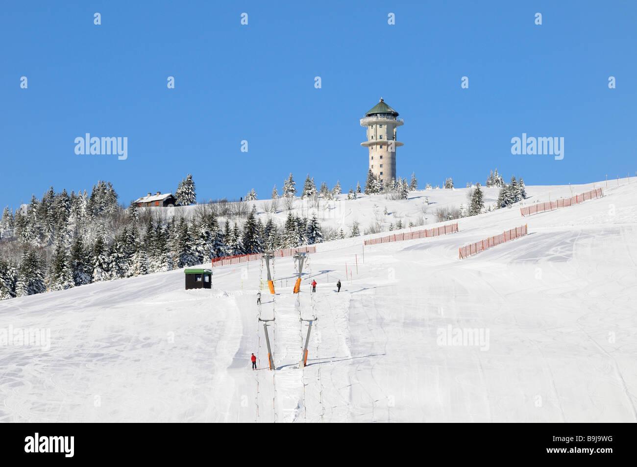 Ski lift and ski slope on Feldberg in the Black Forest, Baden-Wuerttemberg, Germany, Europe Stock Photo