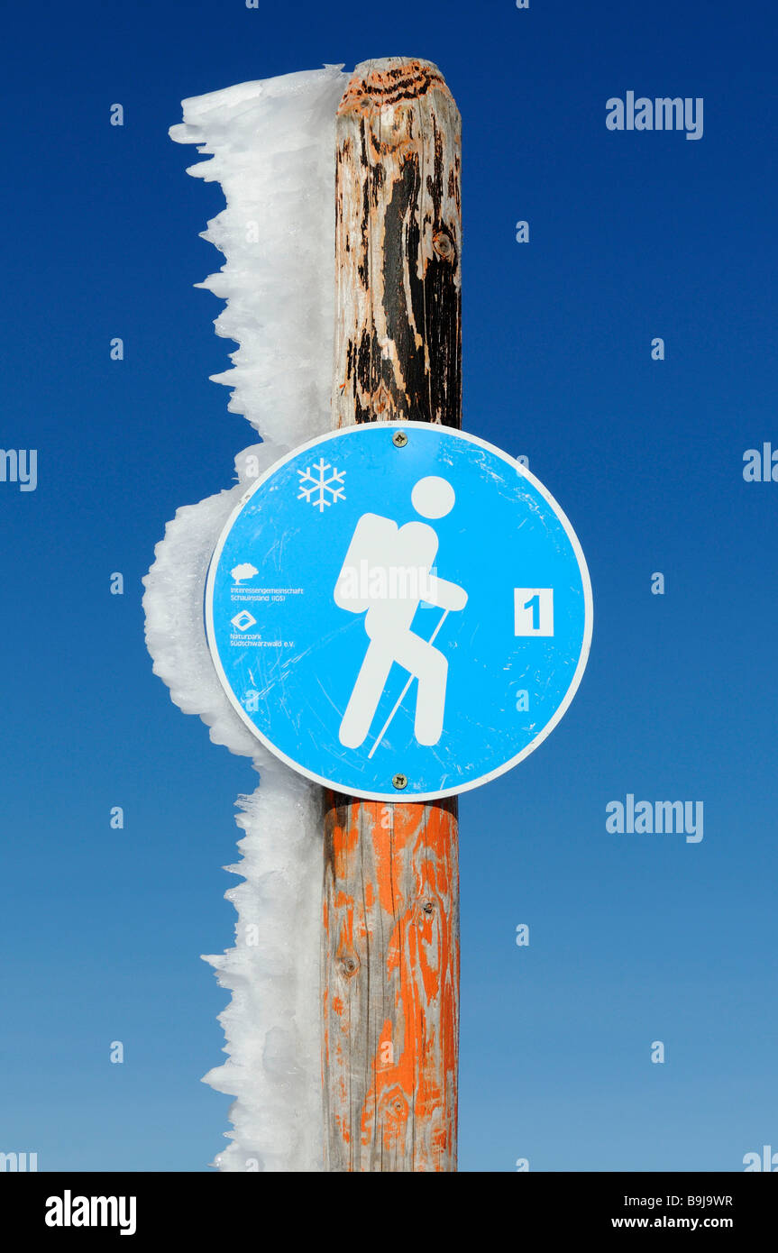 Hiking trail sign in Southern Black Forest Nature Park, Germany, Europe - Stock Image