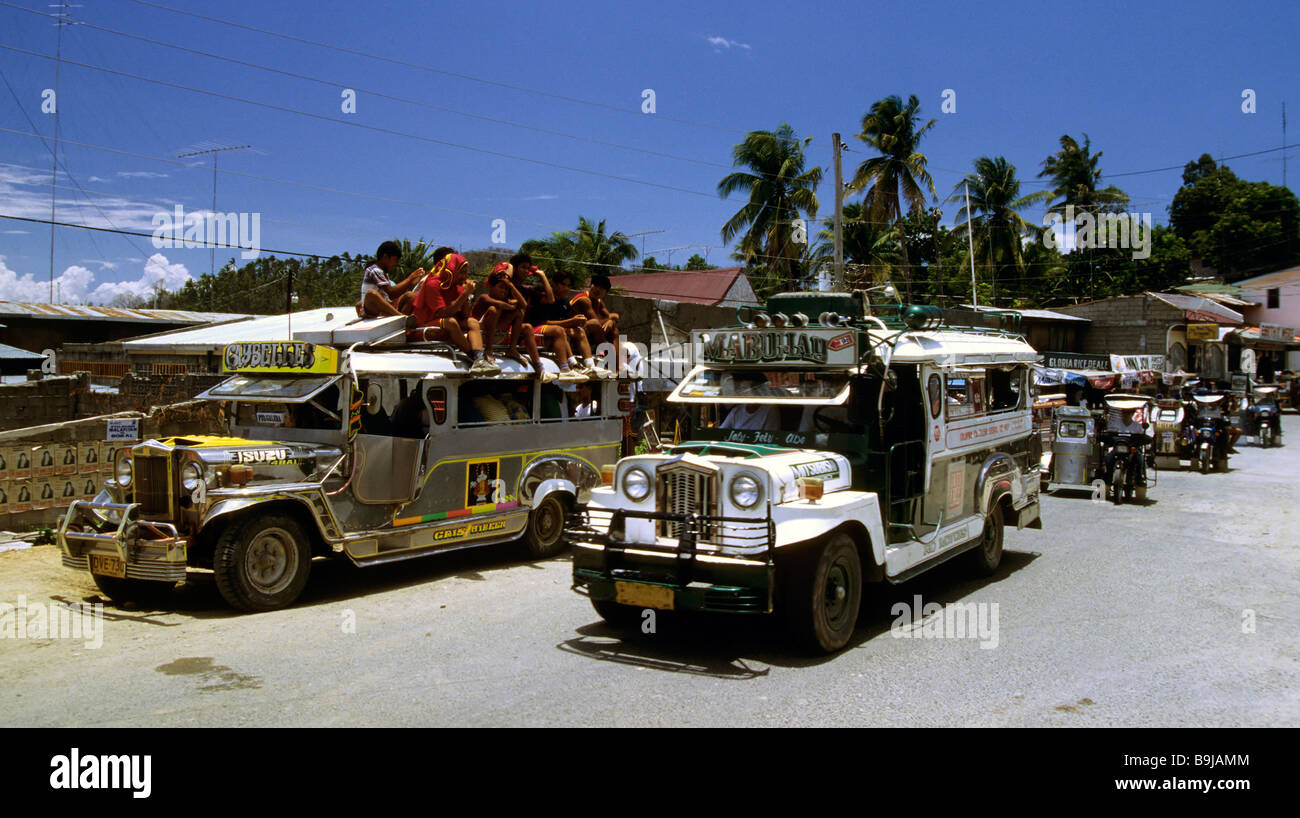 Jeepneys, traditional Philippine taxis, Bohol, Philippines, Southeast Asia - Stock Image