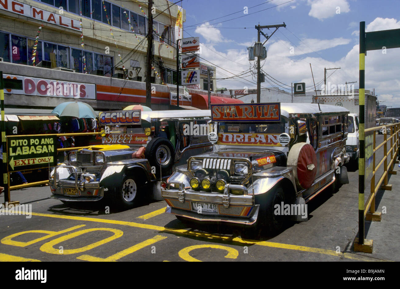 Jeepneys, traditional Philippine taxis, Manila, Philippines, Southeast Asia - Stock Image