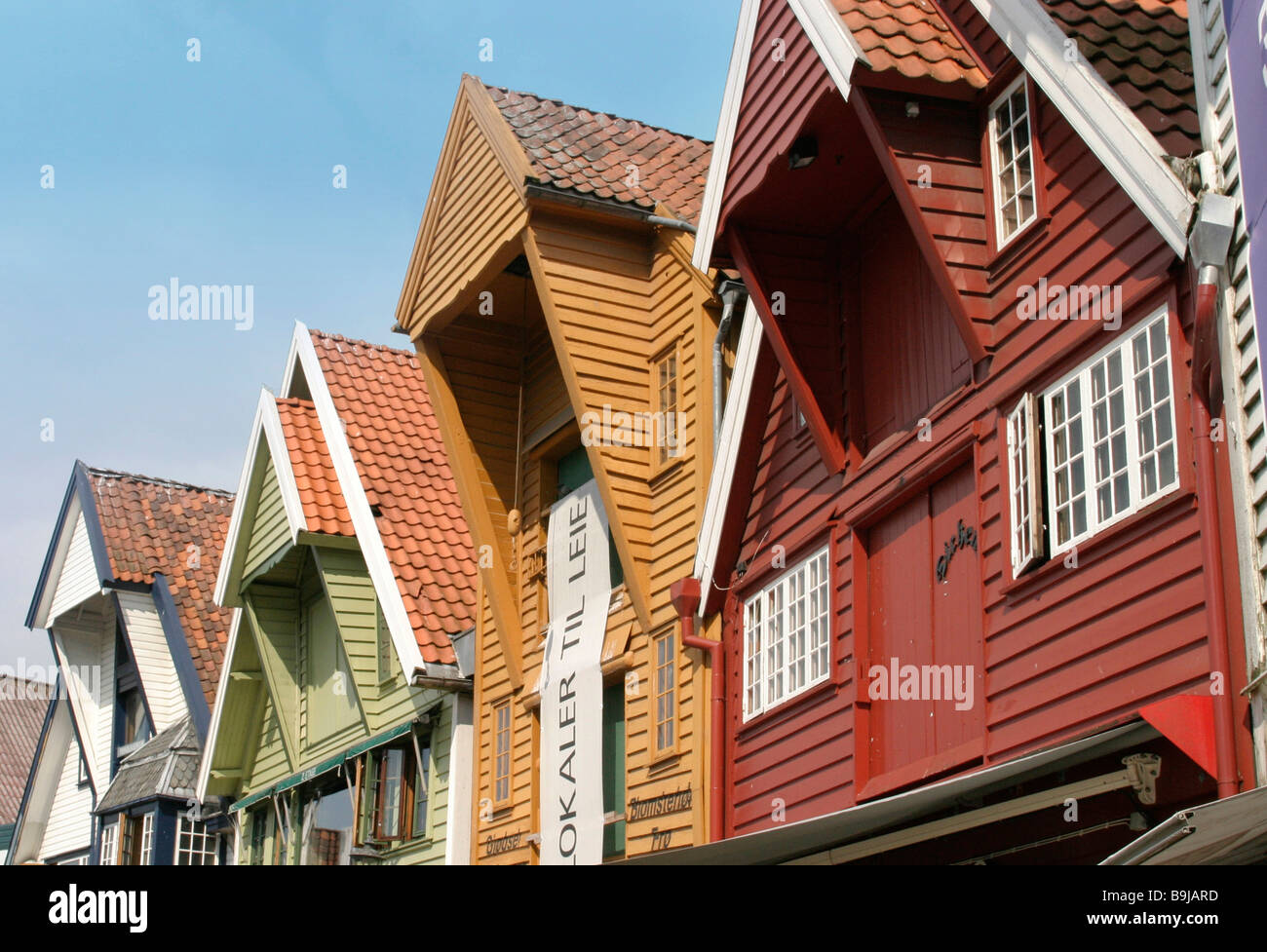 Traditional timber houses at the harbour of Stavanger, Norway, Scandinavia, Europe - Stock Image