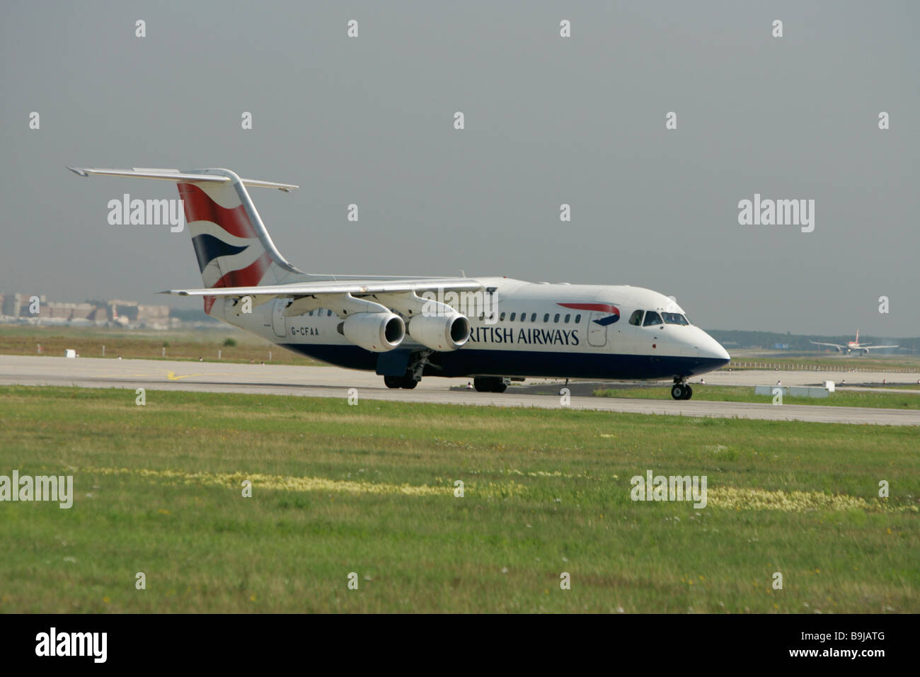 British Airways Cityliner Aero RJ 85, taking off at Frankfurt Airport, Hesse, Germany, Europe - Stock Image
