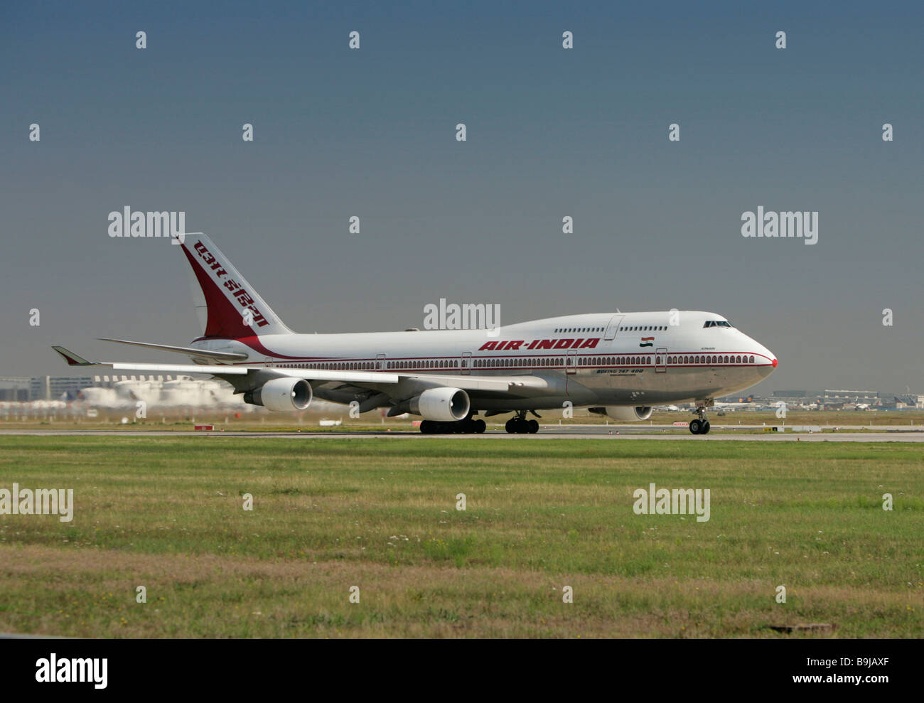 Boeing 747 400 of the airline Air India before takeoff, in Frankfurt Airport, Frankfurt, Hesse, Germany, Europe - Stock Image