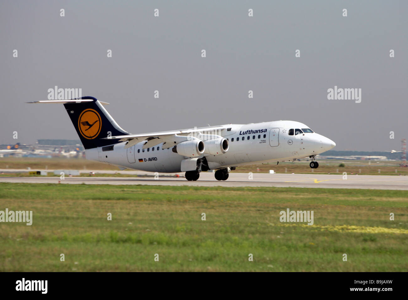Lufthansa Cityliner Aero RJ 85 starting at Frankfurt Airport, Frankfurt, Hesse, Germany, Europe - Stock Image