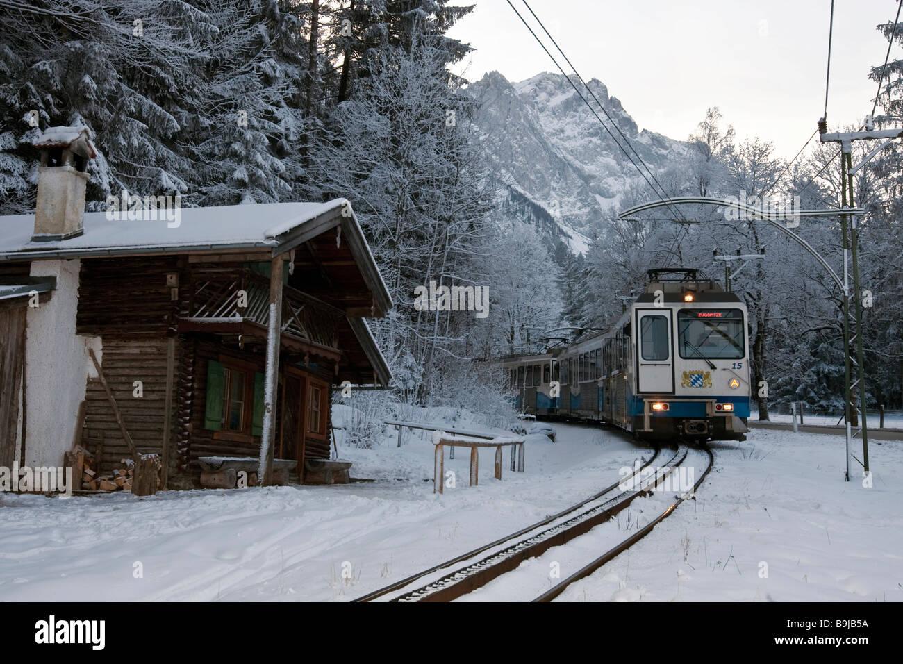 Bayerische Zugspitzbahn Railway Company train in front of Mount Zugspitze, cog railway, Grainau, Bavaria, Germany, - Stock Image