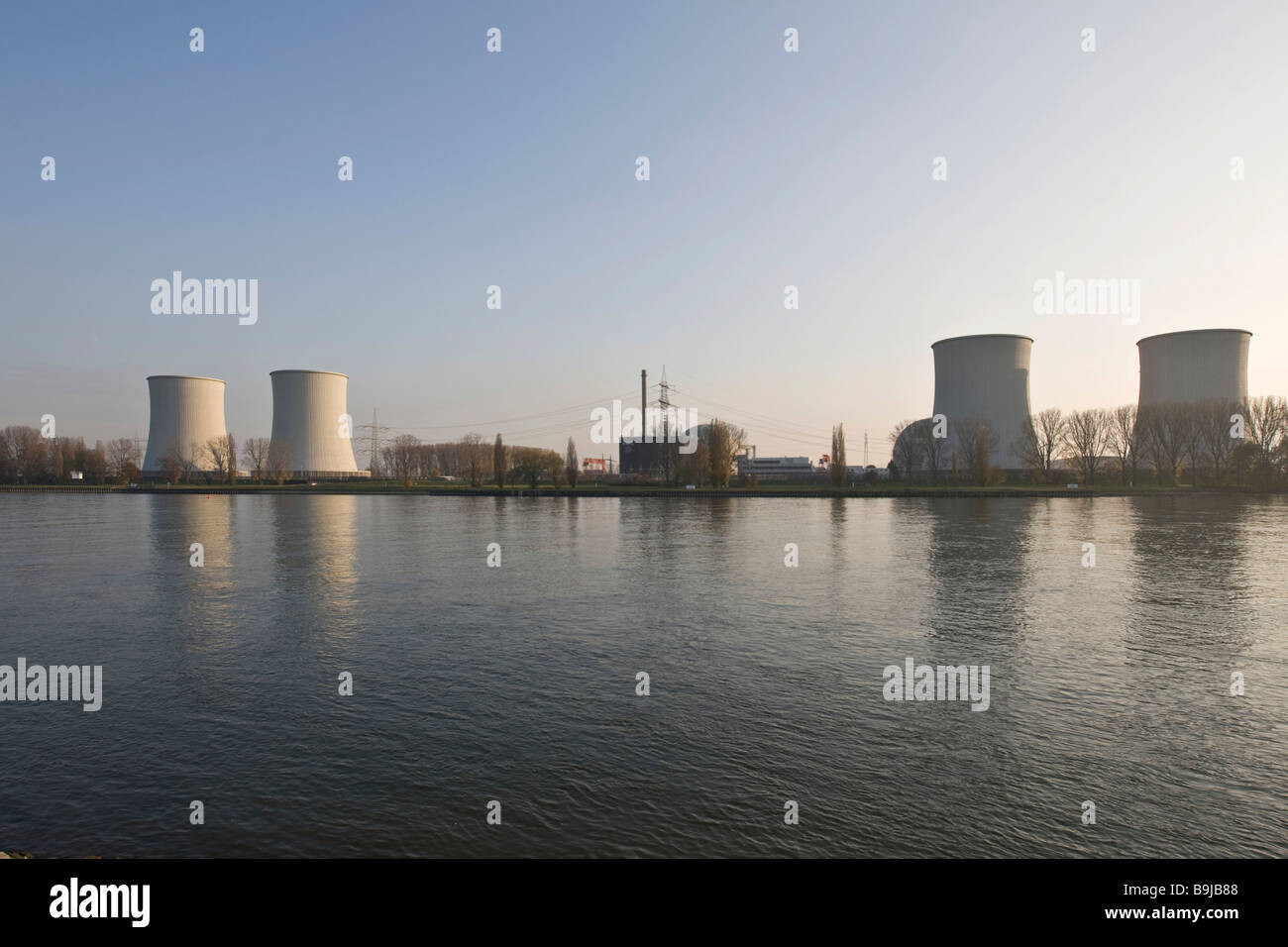 Nuclear Power Plant Biblis on the Rhine, operated by RWE, Biblis, Hesse, Germany, Europe - Stock Image