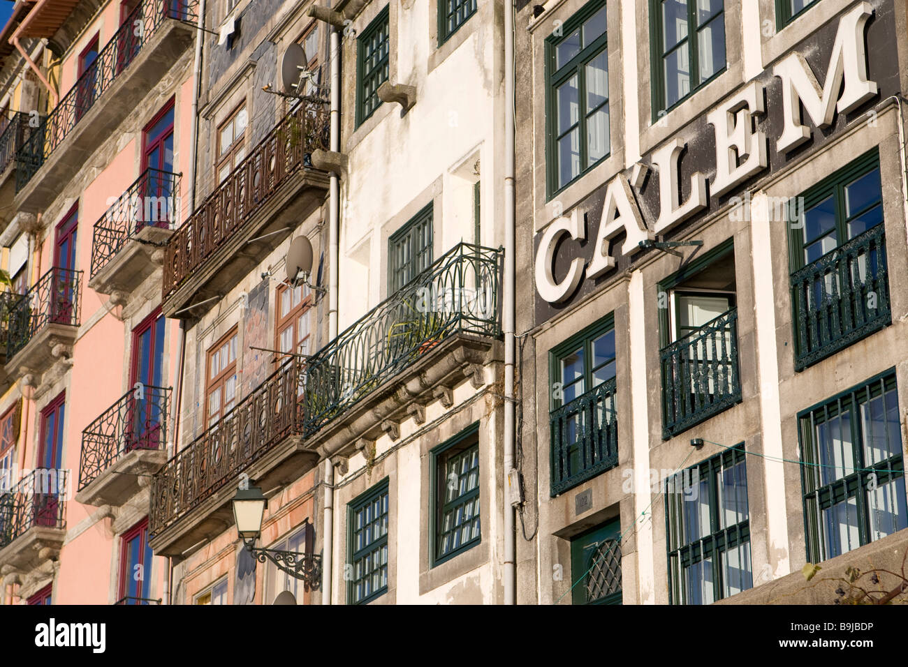 Typical facades at Ribeira Quay, Porto, UNESCO World Cultural Heritage Site, Portugal, Europe Stock Photo