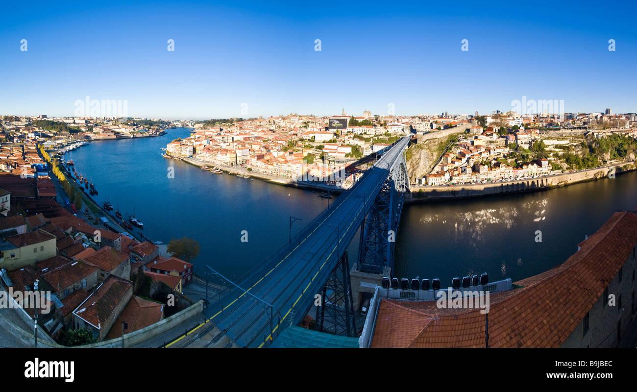 View of Porto from the Vila Nova de Gaia quarter, at back Cais da Ribeira with historic town centre, at front the - Stock Image