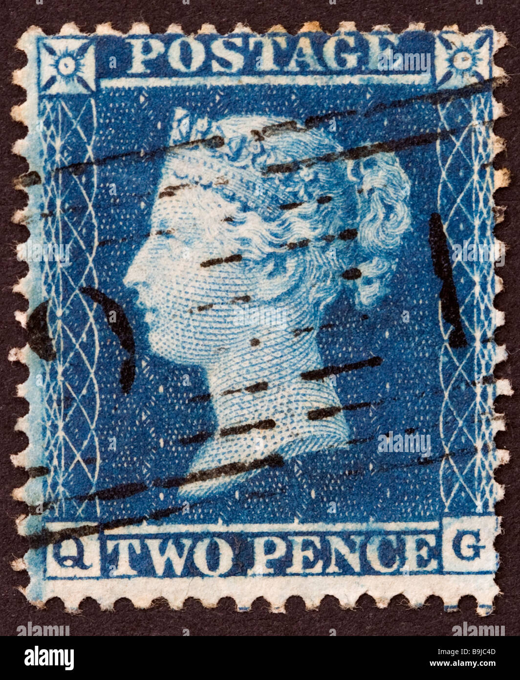 Victorian British postage Stamp, 2d blue 1856-62 Perf 14 used - Stock Image