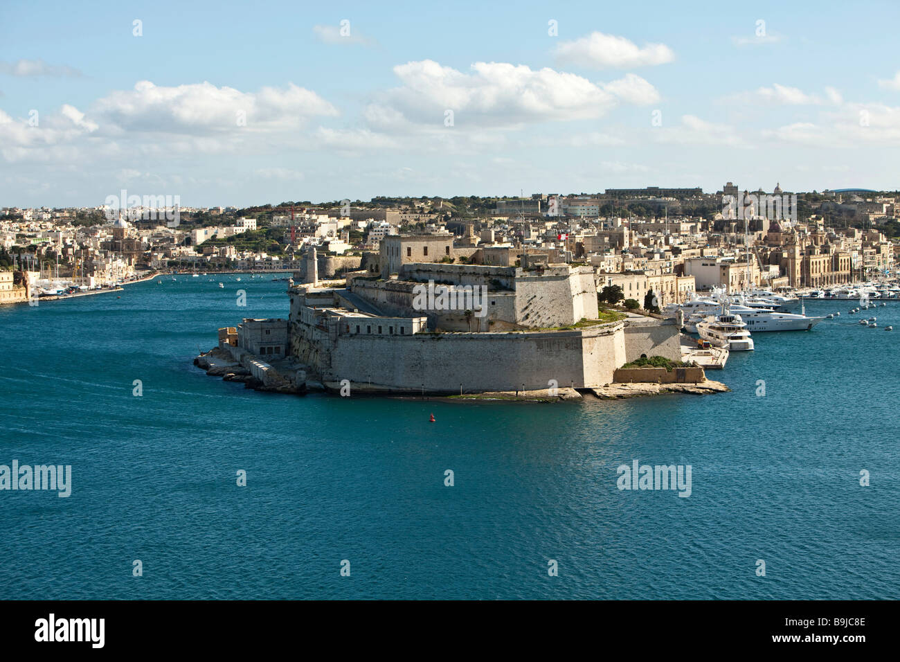 Grand Harbour, view from Valletta of Fort St. Angelo, Valletta, Malta, Europe - Stock Image