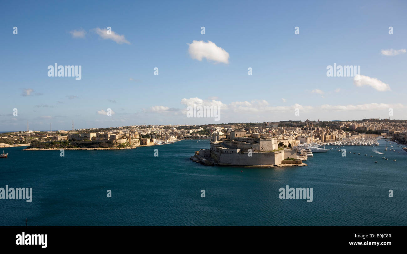View from Valletta of Grand Harbour, from left: Rinella, Kalkara, Fort St Angelo and the yacht harbour, Valletta, - Stock Image