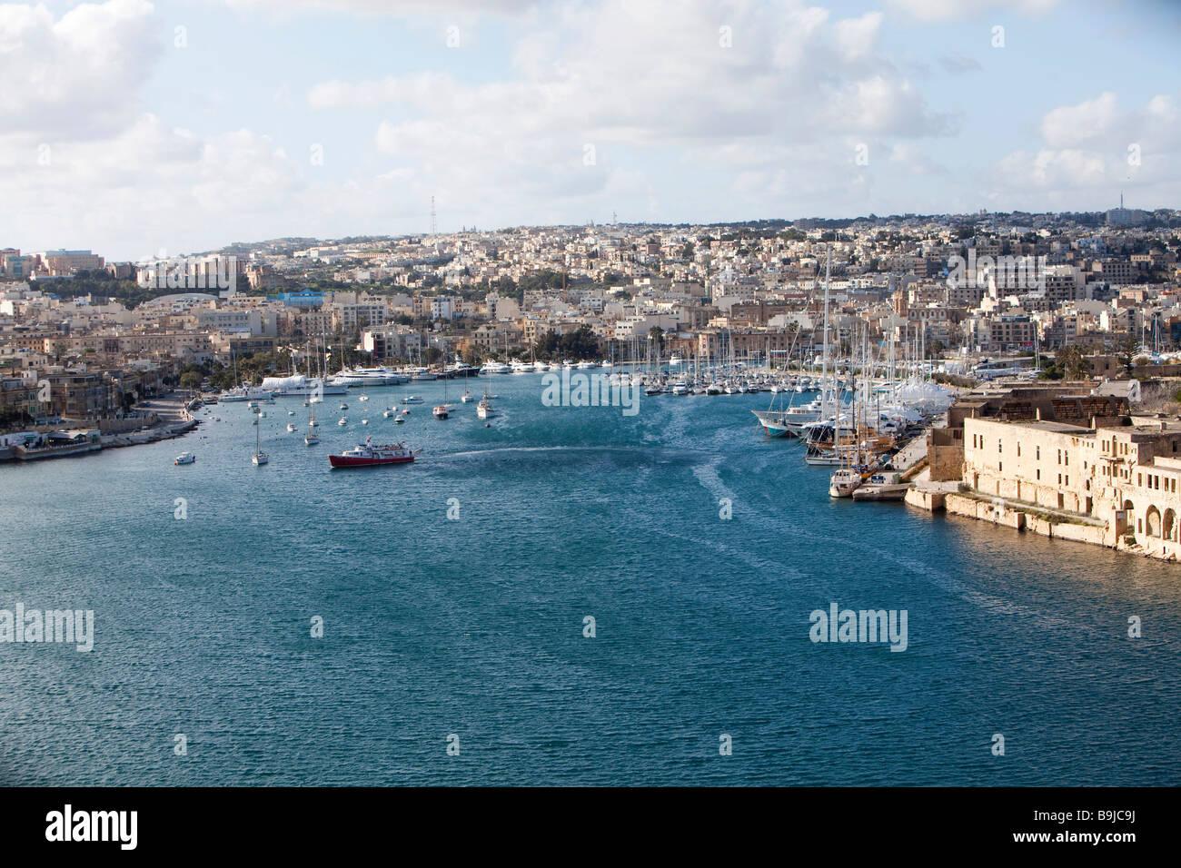 View of Marsamxett Harbour and Lazzaretto Creek from Valletta, Malta, Europe - Stock Image