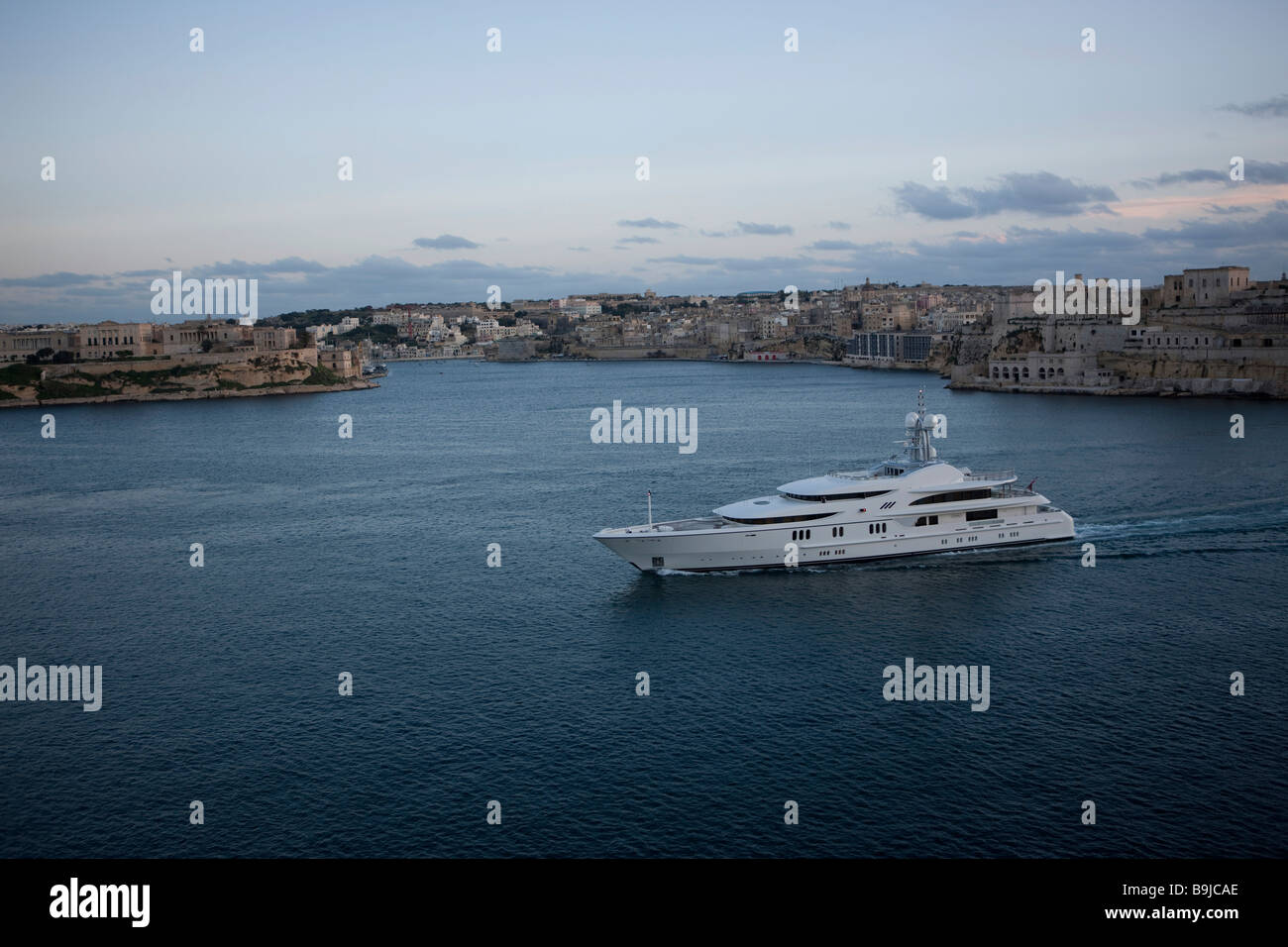 View of Senglea from Valletta, and the big yacht Anna in the