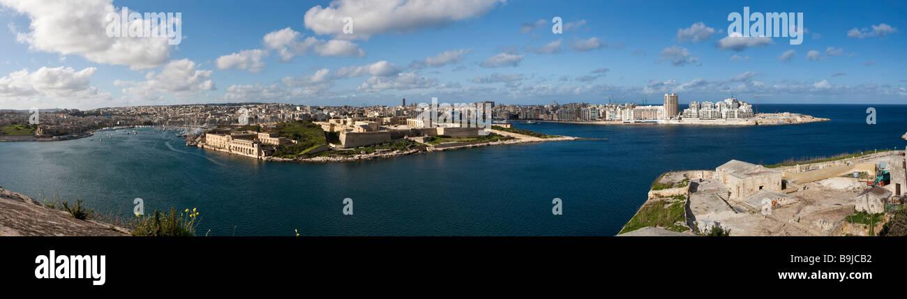 View of Sliema Beach, Sliema Creek Manoel Island and Lazzaretto Creek over Marsamxett Harbour from Valletta, Malta, - Stock Image
