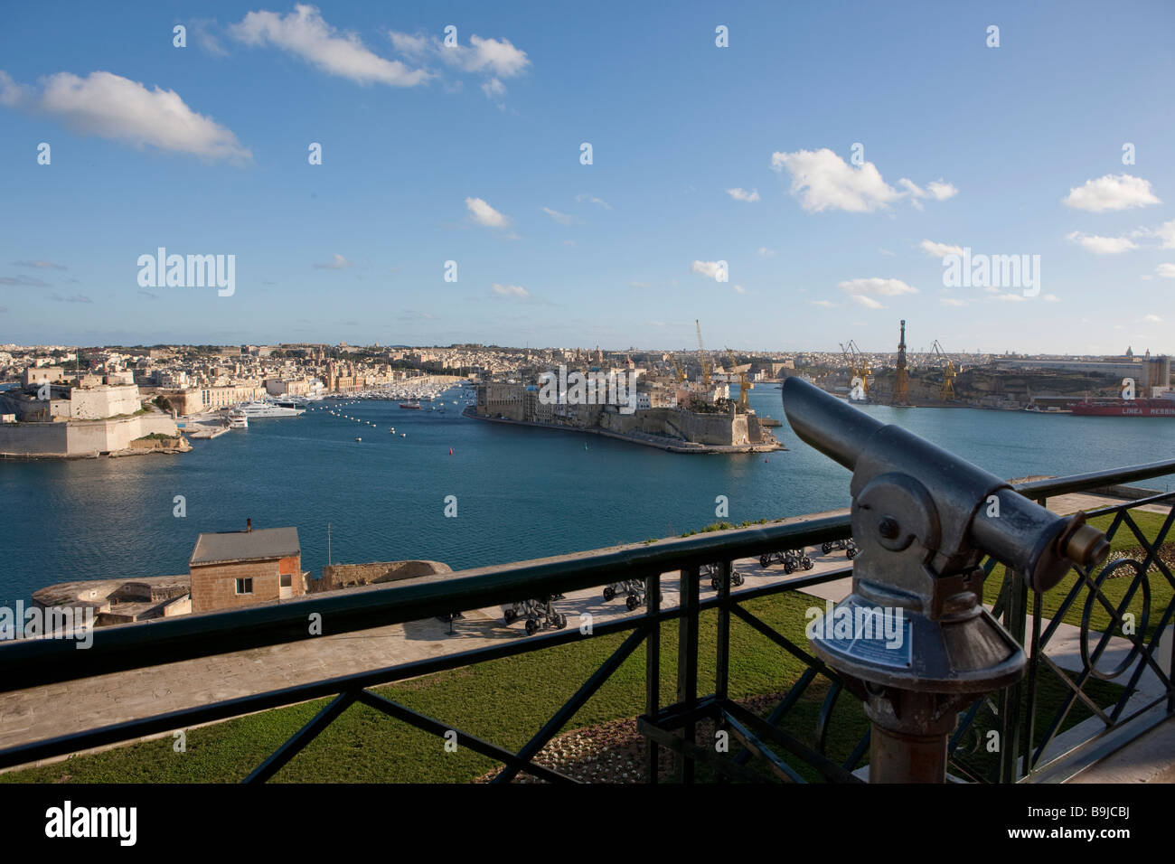 Grand Harbour, view of Senglea and Fort St Angelo from the Upper Barracca Garden, part of the Three Cities, Valletta, - Stock Image