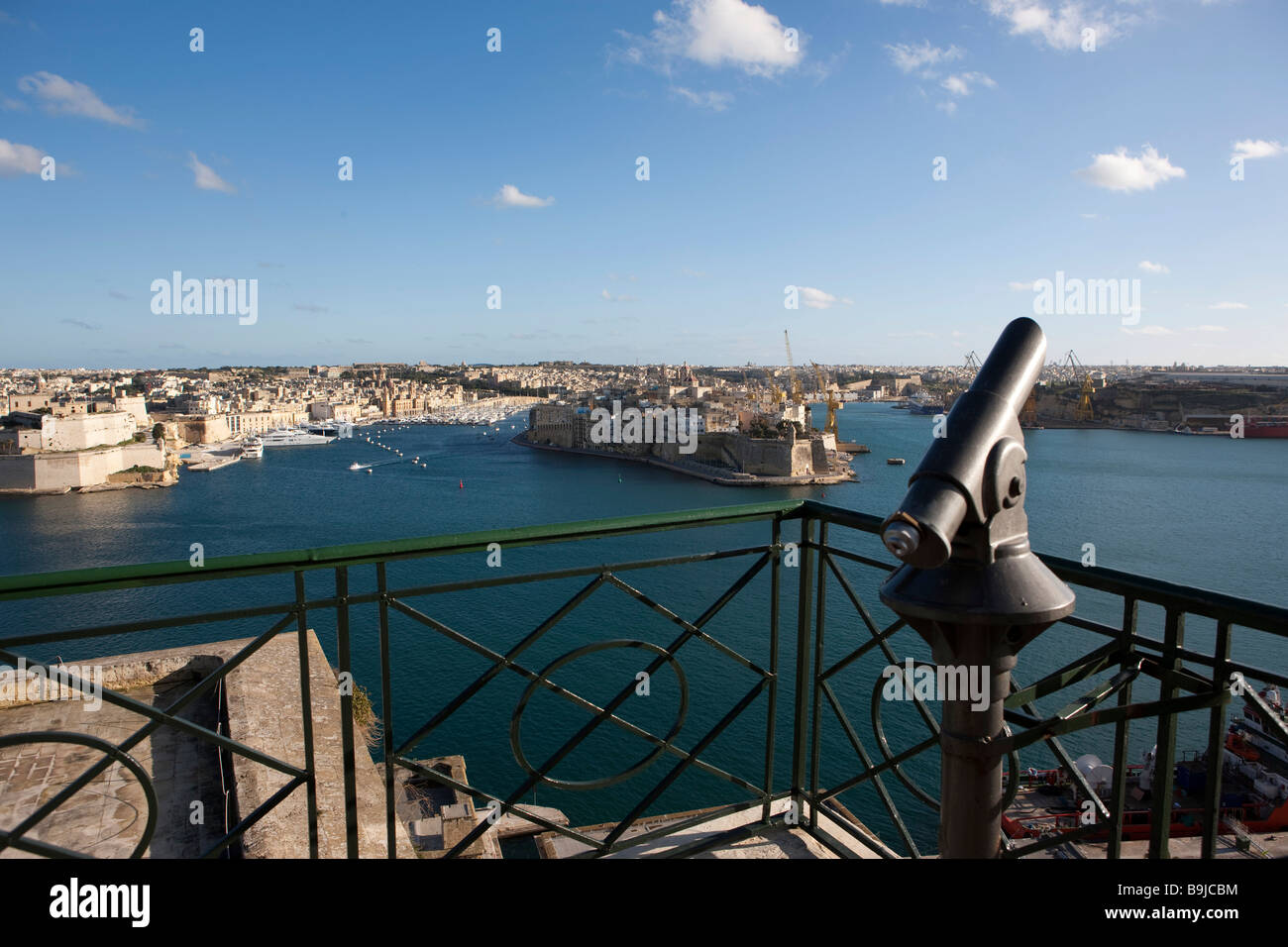 Grand Harbour, view of Senglea from the Upper Barracca Garden, part of the Three Cities, Valletta, Malta, Europe - Stock Image