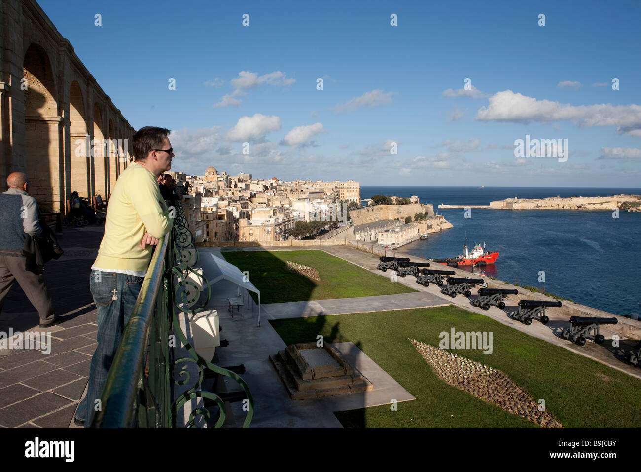 View of Grand Harbour from the Upper Barracca Garden, Valletta, Malta, Europe - Stock Image