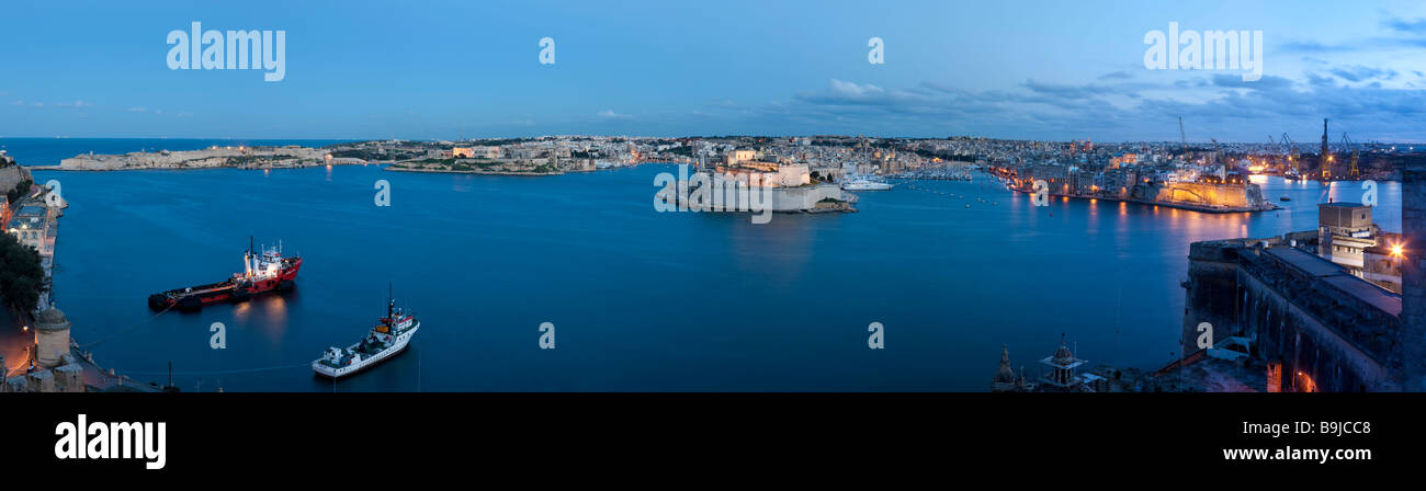 Grand Harbour, view of Senglea and Fort St Angelo, part of the Three Cities, from the Uper Barracca Garden, at back - Stock Image