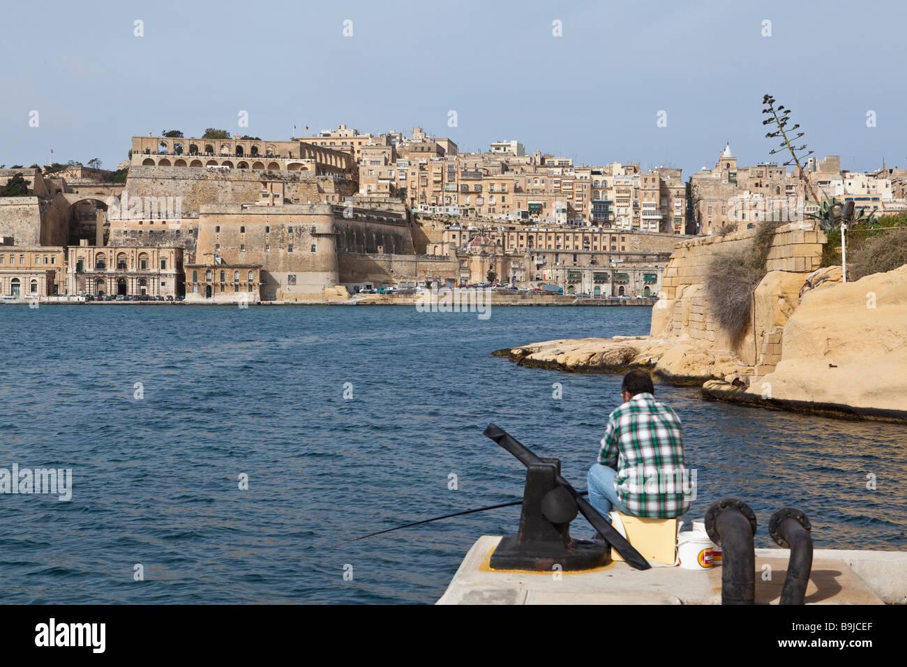 View of Valletta from Vittoriosa, Malta Europe - Stock Image
