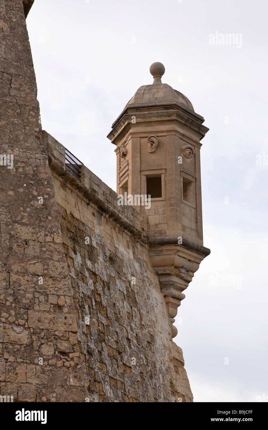 Hexagonal watch tower in Senglea at the Safe Haven Garden, Malta, Europe Stock Photo