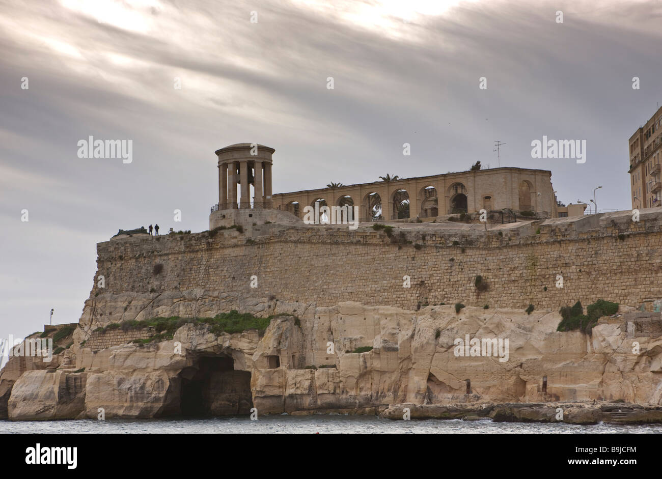 View of the port entrance to the Grand Harbour and the Lower Barracca Gardens at storm, Valletta, Malta, Europe - Stock Image