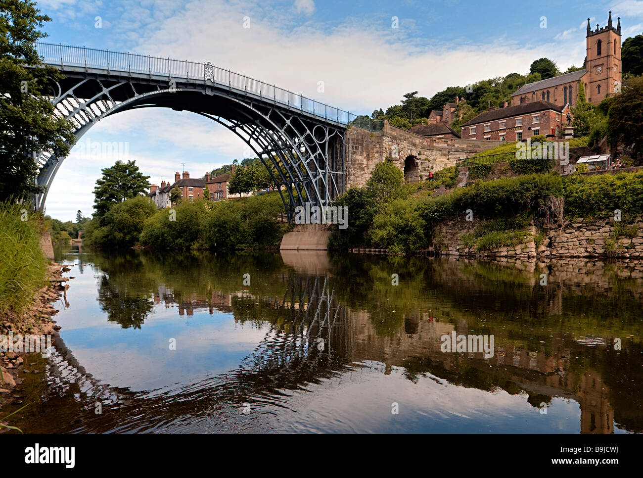 Ironbridge crossing the river Severn, first iron bridge worldwide, built by Abraham Darby in 1779, in Telford, Shropshire, - Stock Image