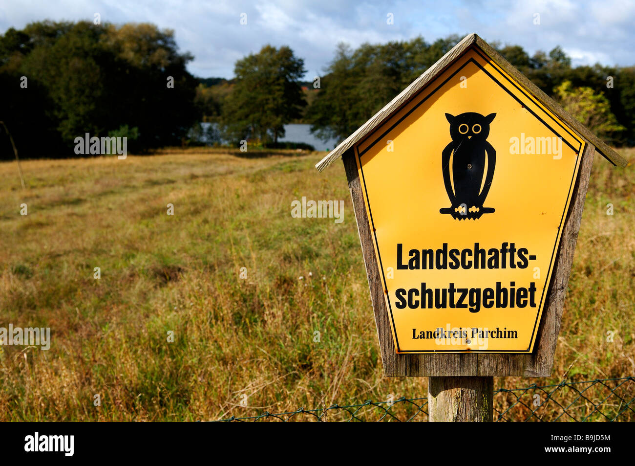Sign, Nature Reserve, Pinnow, Mecklenburg-Western Pomerania, Germany, Europe - Stock Image