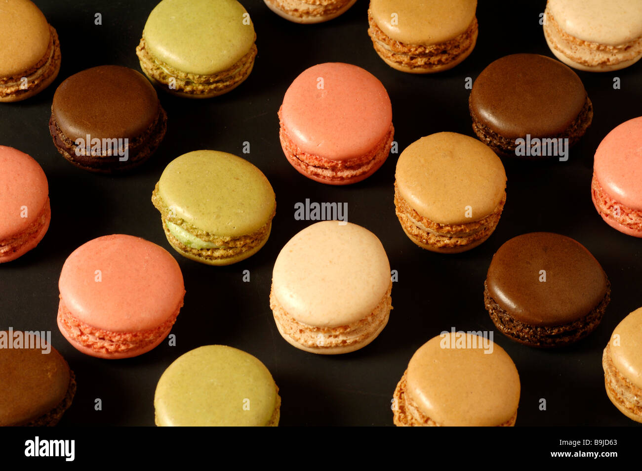 Colored macaroons, La Baroche, Alsace, France, Europe - Stock Image