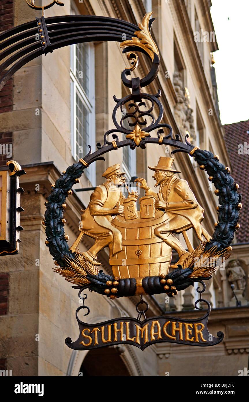 Old restaurant sign, zum Stuhlmacher, Muenster, Westphalia, Germany, Europe Stock Photo