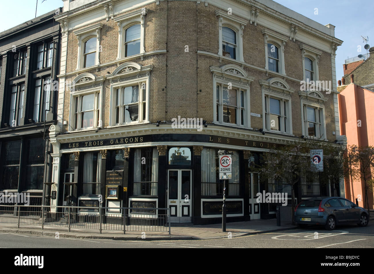Les Trois Garcons,  Notable expensive gourmet retaurn=ant in East London UK - Stock Image
