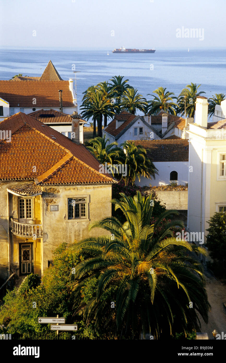 Palm trees, villas and manor houses on the coast of Estoril, a glamorous seaside resort, grown together with Cascais, Stock Photo
